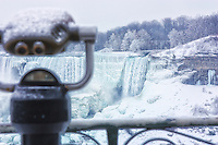 Winter tourist view of the US falls at Niagara