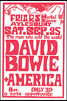 BNPS.co.uk (01202 558833)<br /> Pic: DavidStopps/BNPS<br /> <br /> The poster from an experimental gig David Bowie played at the Friars club in Aylesbury in September 1971.<br /> <br /> The return of the Thin White Duke...The statue will also include a lifesize Ziggy Stardust attached to the suited Bowie of a later era.<br /> <br /> The world's first statue of David Bowie is taking shape in sculpter Andrew Sinclair's Devon studio.<br /> <br /> Ever since the music legend's death in January 2016 there has been a clamour for a fitting tribute of Bowie to be made.<br /> <br /> While his birthplace of Brixton, south London, has been cited as the most likely location for one it is actually Aylesbury in Buckinghamshire that will lay claim to having the very first statue of him.<br /> <br /> The market town was where Bowie played an experimental gig in 1971 to see if had the confidence to perform live and then a year later where his alter-ego of Ziggy Stardust was born.<br /> <br /> One half of the statue has been completed by artist Andrew Sinclair. It depicts a handsome Bowie in his 'Blue Suit' period in the 1990s.