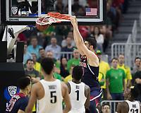LAS VEGAS, NV - March 11, 2017: Arizona Wildcats Men's Basketball team vs. the Oregon Ducks.  Final Score: Arizona Wildcats 83, Oregon Ducks 80