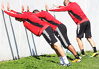 Conor Shanosky#17, Charlie Davies#9 and Daniel Woolard#21 of D.C. United during a training session in Hapgood Stadium on the campus of the Citadel,on March 11 2011, in Charleston, South Carolina