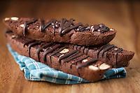 Chocolate Almond Italian Biscotti on Wood Background