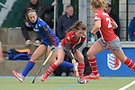 GER - Mannheim, Germany, April 22: During the German Hockey Bundesliga women match between Mannheimer HC (blue) and Club an der Alster (red) on April 22, 2017 at Am Neckarkanal in Mannheim, Germany. Final score 1-1 (HT 1-0).  Julia Meffert #97 of Mannheimer HC, Mieketine Hayn #4 of Club an der Alster<br /> <br /> Foto &copy; PIX-Sportfotos *** Foto ist honorarpflichtig! *** Auf Anfrage in hoeherer Qualitaet/Aufloesung. Belegexemplar erbeten. Veroeffentlichung ausschliesslich fuer journalistisch-publizistische Zwecke. For editorial use only.