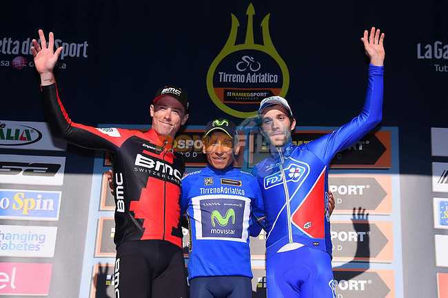 Overall winner Nairo Quintana (COL) Movistar Team centre with Rohan Dennis (AUS) BMC Racing Team in 2nd place left and Thibaut Pinot (FRA) FDJ in 3rd right, on the podium at the end of Stage 7 of the 2017 Tirreno Adriatico a 10km Individual Time Trial at San Benedetto del Tronto, Italy. 14th March 2017.<br /> Picture: La Presse/Gian Mattia D'Alberto | Cyclefile<br /> <br /> <br /> All photos usage must carry mandatory copyright credit (&copy; Cyclefile | La Presse)