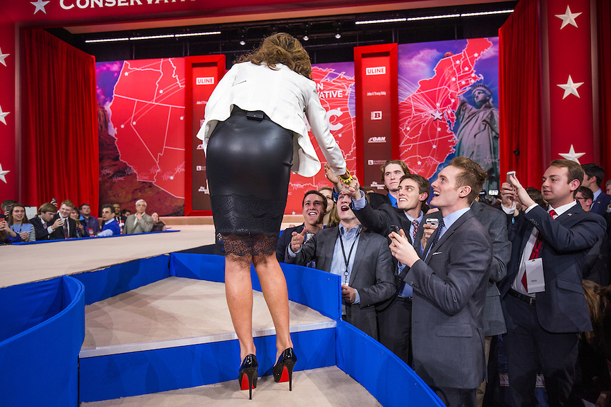 Former Governor Sarah Palin greets the crowd after speaking at the 2015 Conservative Political Action Conference (CPAC) outside Washington, DC.