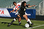 07 November 2010: Wake Forest's Victoria Delbono (3) and Maryland's Sade Ayinde (9). The Wake Forest University Demon Deacons defeated the University of Maryland Terrapins 3-1 on penalty kicks after the game ended in a 1-1 tie after overtime at WakeMed Stadium in Cary, North Carolina in the ACC Women's Soccer Tournament championship game.