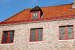 Europe, Belgium, Brugges. Red Roof and Windows.