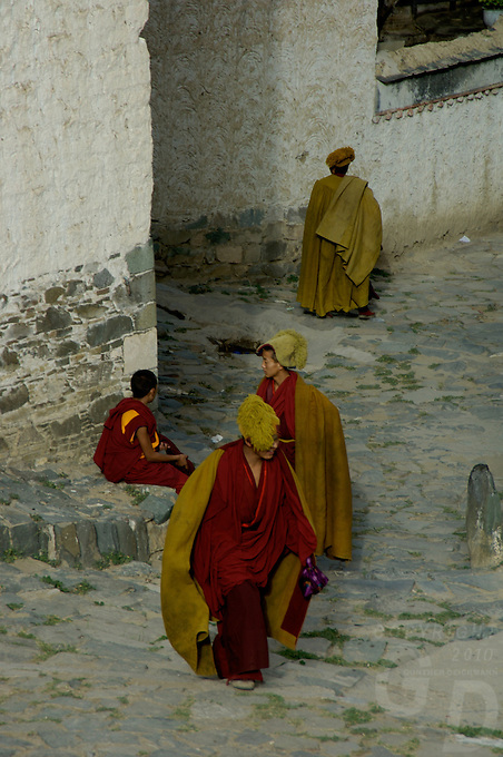 MONASTERY Monks from the Gelupa (Yellow Hat) Sect and the Fifth Dalai Lama at a Monastery, Tibet