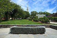 "Newport, RI - Queen Anne Square - The newly redesigned park with the ""Meeting room' monument to Doris Duke by Maya Lin"