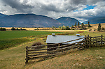 Overlooking the farm fields in the Kootenai Valley with the Selkirk mountains in the background