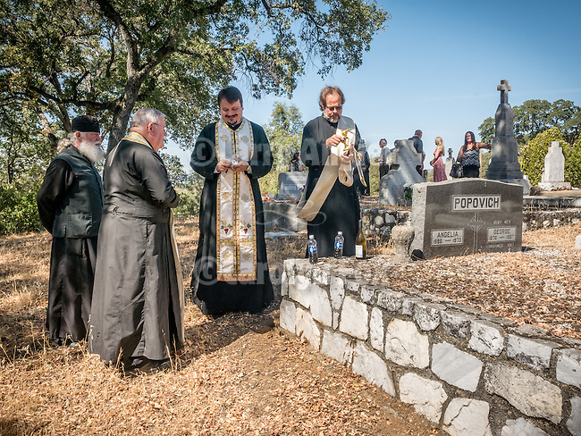 Parastas in memory of those who have departed this life after the Divine Liturgy in commemoration of the 13th Saturday after Pentecost  and the formation of the first Serbian Benevolent Association at St. Basil of Ostrog Serbian Orthodox Church.<br /> <br /> Altavilla Cemetery with  Fr. Joseph from San Gabriel, Fr. Gordic with Deacon Dragon Stojanovich, September 24, 2016, near Angels Camp, Calif.