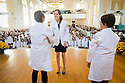 Christa Zehle, M.D., left, Margaret Seybolt, Tania Bertsch, M.D. Class of 2017 White Coat Ceremony.