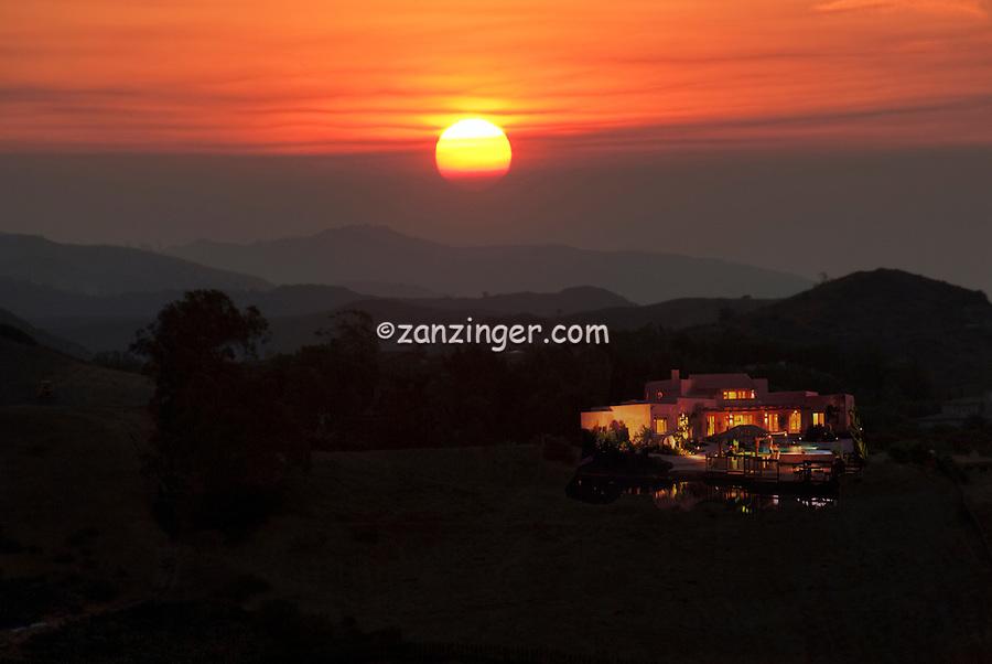 Los Angeles, California, Malibu, Santa Monica Mountains, Ltr Sunrise