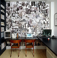 In the home office the striking black and white collage behind the black laminate Paula Caravelli desk is by Robert Greene and the office chairs are Danish 1840s