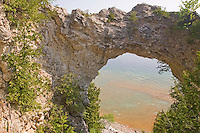 The Arch Rock limestone formation on Mackinac Island in Michigan.