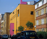 The distinctive yellow and pink exterior of Zandra Rhodes' Fashion and Textile museum designed by renowned Mexican architect Ricardo Legorreta