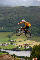 Martin Kloster. MTB slopestyle bicycle competition. The Extremesport Week, Ekstremsportveko, is the worlds largest gathering of adrenalin junkies. In the small town of Voss enthusiasts in a varitety of extreme sports come togheter every summer to compete and play. Norway..©Fredrik Naumann/Felix Features.