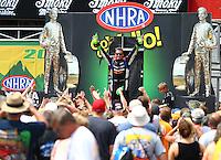 Jun 21, 2015; Bristol, TN, USA; NHRA top fuel driver Clay Millican during the Thunder Valley Nationals at Bristol Dragway. Mandatory Credit: Mark J. Rebilas-
