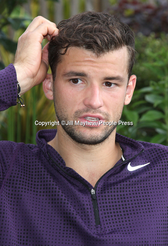 Grigor Dimitrov at The Boodles Tennis Challenge held at Stoke Park, Buckinghamshire, UK - June 21st 2013<br /> <br /> Photo by Jill Mayhew