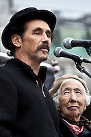 Mark Rylance, English actor and director - 2011<br /> <br /> London, 08/10/2011. Today Trafalgar Square was the stage of the &quot;Antiwar Mass Assembly&quot; organised by The Stop The War Coalition to mark the 10th Anniversary of the invasion of Afghanistan. Thousands of people gathered in the square to listen to speeches given by journalists, activists, politicians, trade union leaders, MPs, ex-soldiers, relatives and parents of soldiers and civilians killed during the conflict, and to see the performances of actors, musicians, writers, filmmakers and artists. The speakers, among others, included: Jeremy Corbin, Joe Glenton, Seumas Milne, Brian Eno, Sukri Sultan and Shadia Edwards-Dashti, Hetty Bower, Mark Cambell, Sanum Ghafoor, Andrew Murray, Lauren Booth, Kate Hudson, Sami Ramadani, Yvone Ridley, Mark Rylance, Dave Randall, Roger Lloyd-Pack, Rebecca Thorn, Sanasino al Yemen, Elvis McGonagall, Lowkey (Kareem Dennis), Tony Benn, John Hilary, Bruce Kent, John Pilger, Billy Hayes, Alison Louise Kennedy, Joan Humpheries, Jemima Khan, Julian Assange, Lindsey German, George Galloway. At the end of the speeches a group of protesters marched toward Downing Street where after a peaceful occupation the police made some arrests.
