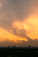 Sunset and unusual cloud formation over Manila, Philippines