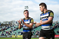George Ford of Bath Rugby acknowledges the crowd after the match. Aviva Premiership match, between Bath Rugby and Sale Sharks on April 23, 2016 at the Recreation Ground in Bath, England. Photo by: Patrick Khachfe / Onside Images