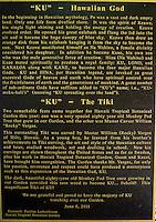 "A sign with information about the carved wooden tiki (or ki'i in Hawaiian) of the Hawaiian god ""KU"" at the Hawai'i Tropical Botanical Garden, Onomea (north of Hilo), Big Island of Hawaiʻi."