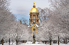 Mar.12, 2014; Main Building and Golden Dome after snow storm. Photo by Barbara Johnston/University of Notre Dame