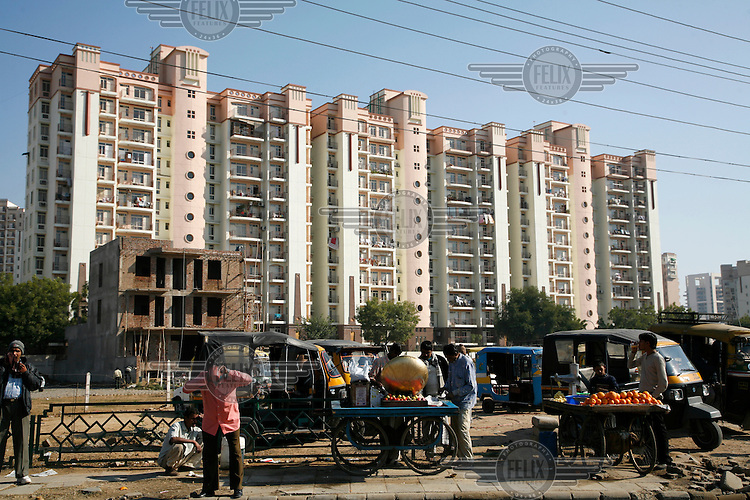 "New apartment buildings in Gurgaon. This Delhi suburb, also known as ""Cyber City"", is one of the fastest growing urban areas in India."