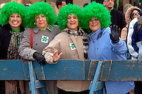 (l-r) Diane Margioras, Marilyn Blazakis, Mary Searles, Margie Polites, from Ohio and Florida wear green hair in honor of the Irish.  246th Saint Patrick's Day Parade,  marches up 5th Avenue,  March 17, 2007.  (© Frances Roberts)