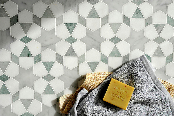 Medina, a handmade mosaic shown in polished Ming Green and Carrara and honed Thassos, is part of the Miraflores Collection by Paul Schatz for New Ravenna.<br /> <br /> For pricing samples and design help, click here: http://www.newravenna.com/showrooms/