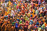 A colorful crowd of people celebrate the Holi Festival, Mathura, Uttar Pradesh, India