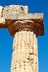 Greek Dorik columns at the  ruins of Temple F at Selinunte, Sicily photography, pictures, photos, images &amp; fotos. 41