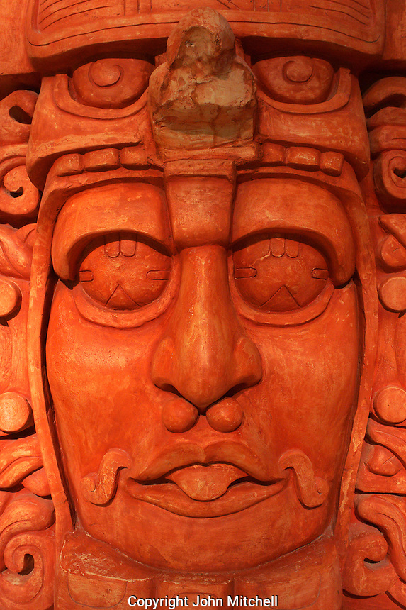 Face of Mayan ruler, replica of Temple of the masks at Kohunlich, Gran Museo del Mundo Maya museum in Merida, Yucatan, Mexico  .
