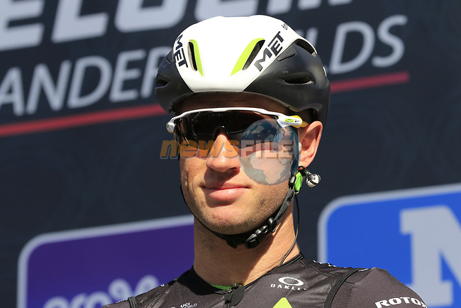 Mark Renshaw (AUS) Team Dimension Data on stage at sign on before the start of Gent-Wevelgem in Flanders Fields 2017, running 249km from Denieze to Wevelgem, Flanders, Belgium. 26th March 2017.<br /> Picture: Eoin Clarke | Cyclefile<br /> <br /> <br /> All photos usage must carry mandatory copyright credit (&copy; Cyclefile | Eoin Clarke)