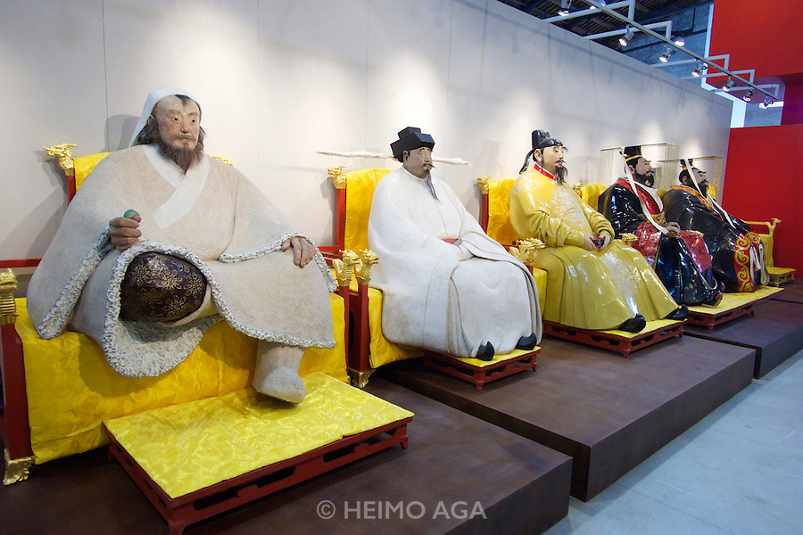 55th Art Biennale in Venice - The Encyclopedic Palace (Il Palazzo Enciclopedico).<br /> Arsenale Nord. &quot;Passage to History: 20 Years of La Biennale di Venezia and Chinese Contemporary Art&quot;.<br /> Tian Shixin, from l.: &quot;The KIng&middot;Genghis Khan&quot;, &quot;The KIng&middot;Song Taizu&quot;, &quot;The KIng&middot;Tang Taizong&quot;, &quot;The KIng&middot;Emperor Wu Di of the Han dynasty&quot;, &quot;The KIng&middot;the First Emperor of Qin&quot;, 2009.