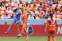 Houston, TX - Saturday April 15, 2017: Alyssa Mautz and Denise O'Sullivan go up for a header during a regular season National Women's Soccer League (NWSL) match between the Houston Dash and the Chicago Red Stars at BBVA Compass Stadium.