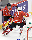 Ryan Ellis (Canada - 8), Chet Pickard (Canada - 31) - Canada defeated Kazakhstan 15-0 on Sunday, December 28, 2008, at Scotiabank Place in Kanata (Ottawa), Ontario, during the 2009 World Junior Championship.
