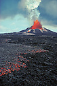 Pu'u O'o eruption and a'a lava flow; Hawaii Volcanoes National Park, Island of Hawaii.