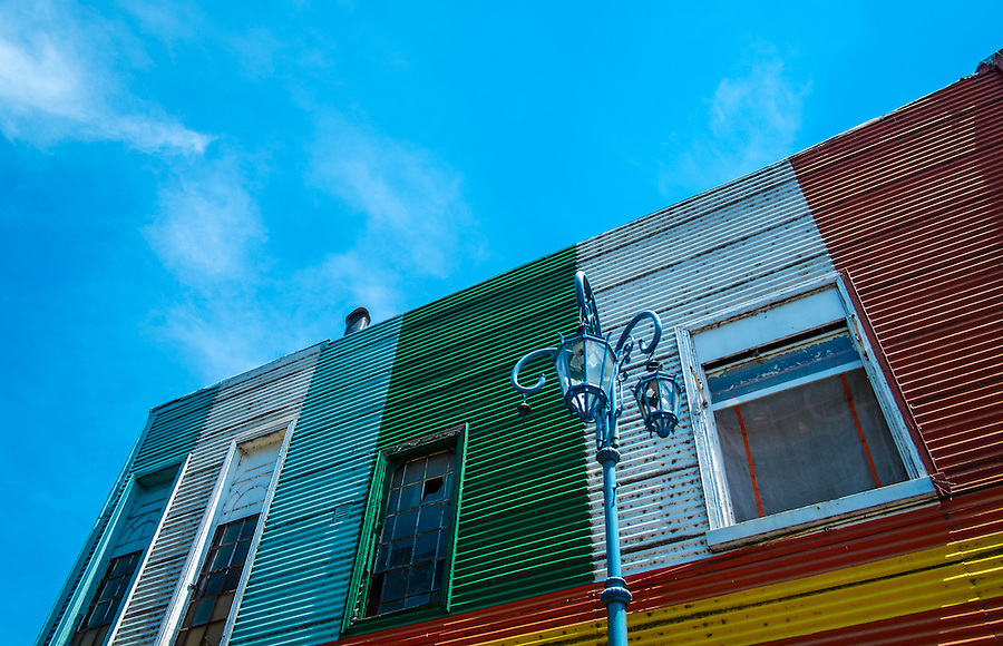 View of one of the facades in famous Caminito Street in Buenos Aires, Argentina.