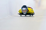 18 November 2005: Mellisa Hollingsworth-Richards of Canada slides down the track to take the silver medal at the 2005 FIBT World Cup Women's Skeleton competition at the Verizon Sports Complex, in Lake Placid, NY. Mandatory Photo Credit: Ed Wolfstein.