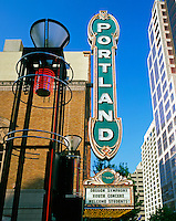 USA, Oregon, Portland marquee on the Arlene Schnitzer Concert Hall located on SW Broadway in Portland