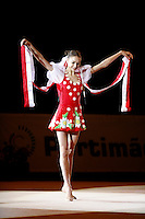 Evgenia Kanaeva of Russia performs with ribbon during gala exhibition at 2008 Portimao World Cup of Rhythmic Gymnastics on April 20, 2008.  Photo by Tom Theobald.