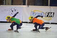 SHORTTRACK: AMSTERDAM: 05-01-2014, Jaap Edenbaan, NK Shorttrack, 500m, Freek van der Wart (#86), Sjinkie Knegt (#89), ©foto Martin de Jong