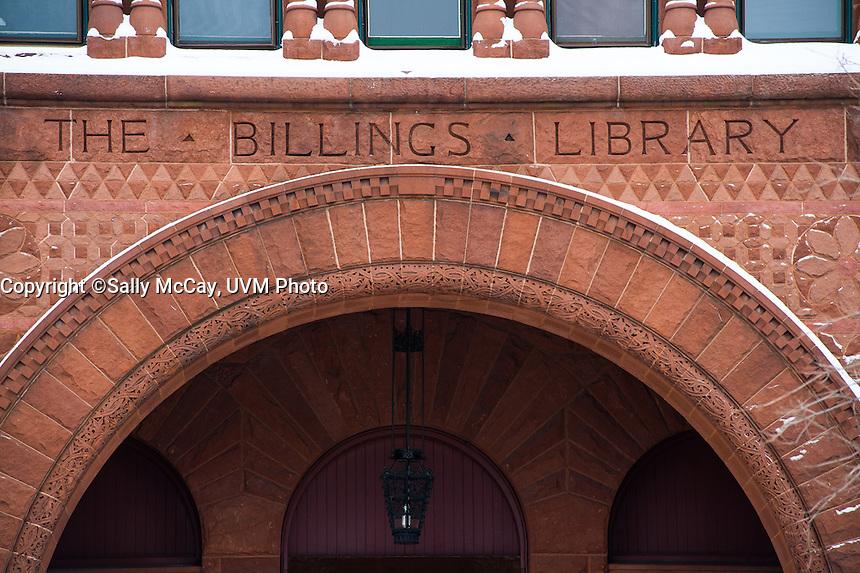 Billings Library details. UVM Winter Campus
