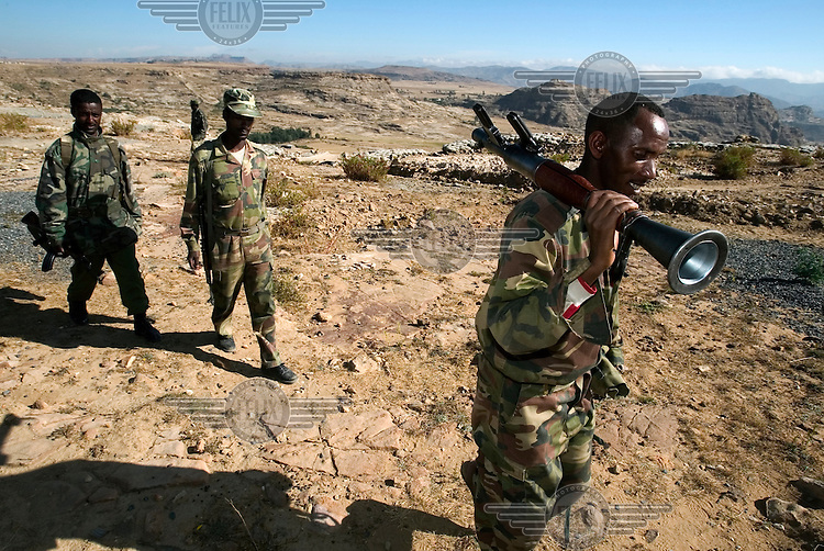 Ethiopian troops carrying an RPG along the disputed border between Ethiopia and Eritrea. Tensions remain between both countries, with border skirmishes and attacks a frequent occurance.