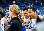 Guard Isaiah Briscoe and Guard Jamal Murray of the Kentucky Wildcats photobomb Tyler Ullis' interview after the game against the Mississippi State Bulldogs at Rupp Arena on January 20, 2015 in Lexington, Kentucky. Photo by Taylor Pence