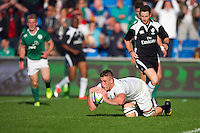 Huw Taylor of England U20 scores a try in the first half. World Rugby U20 Championship Final between England U20 and Ireland U20 on June 25, 2016 at the AJ Bell Stadium in Manchester, England. Photo by: Patrick Khachfe / Onside Images