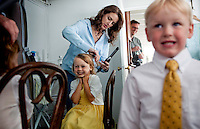 Dina helps her kids get ready to attend her wedding aboard the Skansonia on Seattle's Lake Union. (Photo by Dan DeLong/Red Box Pictures)