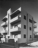 Apartment building in Bauhaus architecture.The Elbaum building, haTikva Street 8, Tel Aviv, photographer Itzhak Kalter