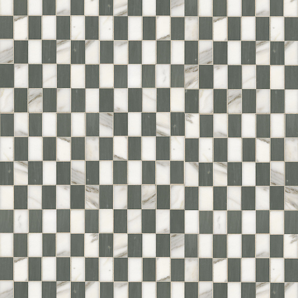 Gridded Check 3 x 5 cm, a hand-cut stone mosaic, shown in polished Calacatta and Bardiglio.